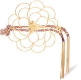 Carolina Bucci Camelia 18-karat gold and woven silk bracelet