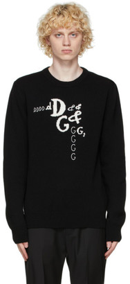 Dolce & Gabbana Black Cashmere and Wool DNA Sweater