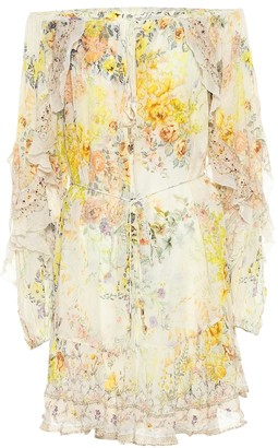 Camilla Embellished floral silk minidress
