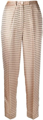 Forte Forte Houndstooth-Print Pressed-Crease Trousers