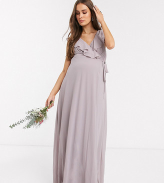 TFNC Maternity bridesmaid ruffle detail maxi dress with thigh split in grey
