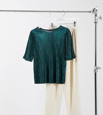Asos Tall ASOS DESIGN Tall puff sleeve t-shirt in plisse in dark green