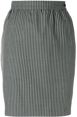 Emanuel Ungaro Pre Owned Micro Check-Print Pencil Skirt