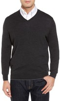Thomas Dean Men's Merino Wool Blend V-Neck Sweater