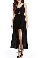 Soprano Sleeveless Lace-Up Front Maxi Romper