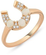 Selda Jewellery Horseshoe Ring With White Opal & Diamond