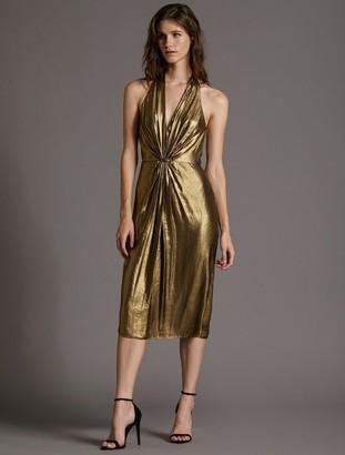 Halston Foil Georgette Dress