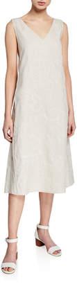 Lafayette 148 New York Duncan Embroidered V-Neck Sleeveless Linen Dress