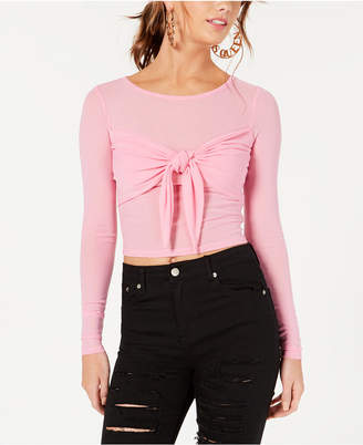 Material Girl Juniors' Sheer Tie-Front Crop Top