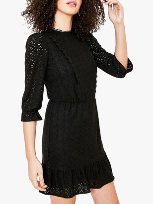 Oasis Broderie Flared Mini Dress, Black