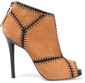 Roger Vivier Whipstitched Suede Platform Ankle Boots