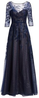 Rene Ruiz Collection Three-Quarter Sleeve Illusion Ball Gown