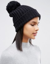 Pieces Knited Pom Beanie in Black on Black