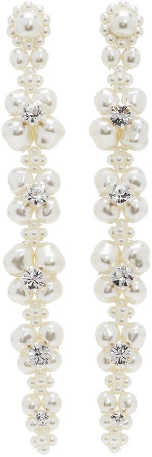 Simone Rocha White Jewelled Cluster Drip Earrings