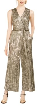 Donna Ricco Sequined Metallic Jumpsuit