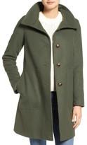Kristen Blake Petite Women's Funnel Neck Wool Blend Coat