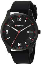 Wenger Men's 'City Active' Swiss Quartz Stainless Steel and Silicone Casual Watch, Color:Black (Model: 01.1441.111)