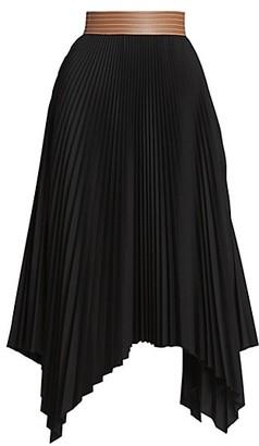 Loewe Leather-Trimmed Pleated Midi Skirt