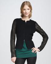 Vince Leather-Sleeve Jacket