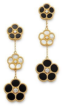 Roberto Coin Daisy Collection 18K Yellow Gold Black Onyx, Mother-Of-Pearl & Diamond Flower Drop Earrings - 100% Exclusive