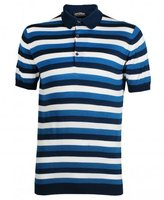 John Smedley Short Sleeved Wide Striped Knitted Polo