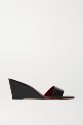 STAUD Billie Leather Wedge Sandals - Black