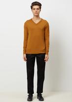 Raf Simons rust v-neck light cotton sweater