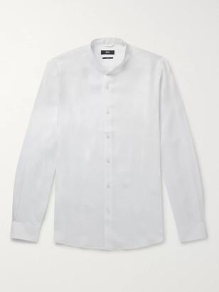 HUGO BOSS Jordi Slim-Fit Grandad-Collar Linen Shirt - Men - White