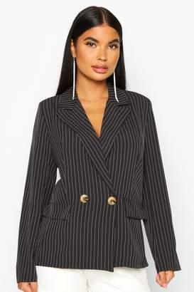 boohoo Petite Pinstripe Button Up Blazer