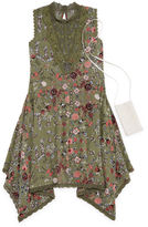 Knitworks Knit Works Olive Floral Sleeveless Skater Dress w/ Purse- Girls' 7-16
