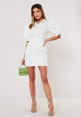 Missguided White Cotton Poplin Ruched Puff Sleeve Mini Dress