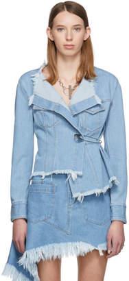 Marques Almeida Blue Denim Asymmetric Jacket