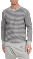 2xist French Terry Striped Crewneck Sweatshirt, Light Gray Heather/Medium Heather Stripe