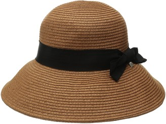 Coal Women's The Loretta Bell-Shaped Straw Hat with Ribbon