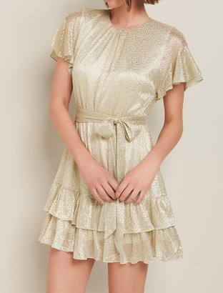 Forever New Camilla Foil Plisse Skater Dress - Gold - 10