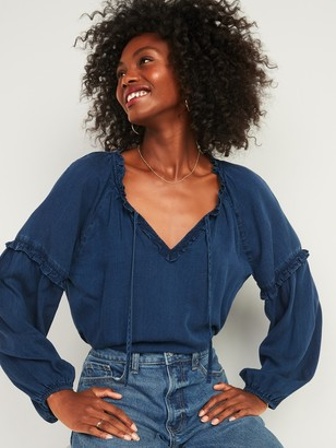 Old Navy Ruffled Tie-Neck Chambray Poet Blouse for Women