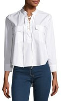 Veronica Beard Harper Poplin Lace-up Blouse, White