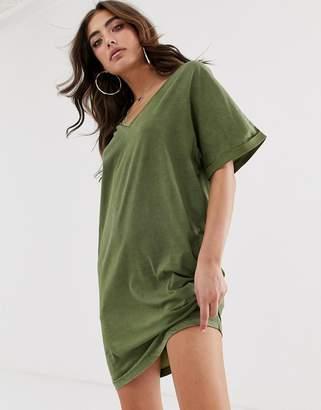 G Star G-Star Joosa organic cotton v-neck t-shirt dress-Green