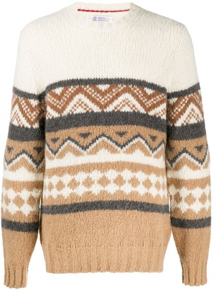 Brunello Cucinelli long sleeve Aztec-knitted sweater