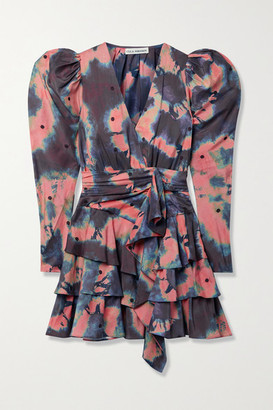 Ulla Johnson Semira Belted Ruffled Embroidered Tie-dyed Silk Crepe De Chine Mini Dress - Antique rose