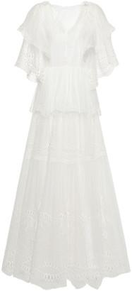 Alberta Ferretti Tiered Embroidered Cotton-blend Georgette Maxi Dress