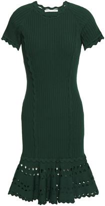 Jonathan Simkhai Scalloped Laser-cut Ribbed-knit Mini Dress