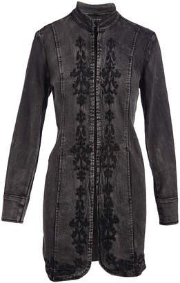 Live A Little Women's Denim Jackets BLACK - Black Embroidered Denim Duster - Women