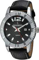 Peugeot Men's Steel Case Carbon Fiber Dial Leather Band Racing Watch 2037S