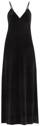 Norma Kamali V-neck Velvet Slip Dress - Black