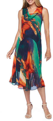 Robbie Bee Sleeveless Abstract Fit & Flare Dress
