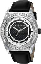 Sean John Men's 'Diamond' Quartz Metal and Leather Casual Watch, Color: (Model: SJ50024002)