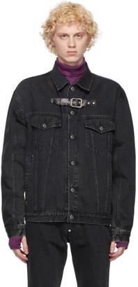 John Lawrence Sullivan Black Front Side Belted Denim Jacket
