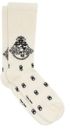 Simone Rocha Cherub-jacquard Jersey Socks - Cream Print