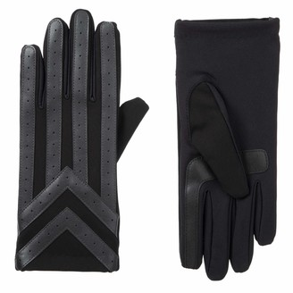 Isotoner Mens Spandex Touchscreen Cold Weather Gloves with Warm Fleece Lining and Chevron Details
